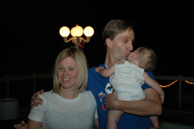 Me and Pete. And Pete doing what politicians do: kissing babies. It's his own :)
