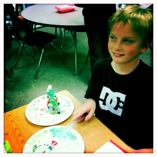 Easy E with Completed Christmas Tree Waffle Cone Craft
