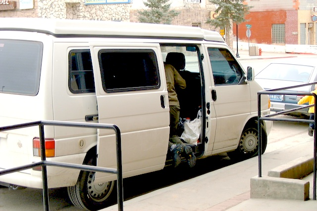 The camper van in small town Nevada 2003