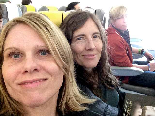 Before Emily moved to her aisle seat. Rome to Barcelona, February 2015