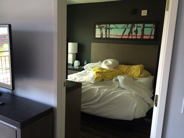 The bedroom in our Emeryville Hotel
