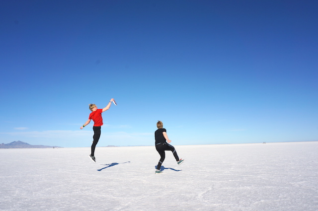 Kyle and Eli playing frisbee at the Bonneville Salt Flats
