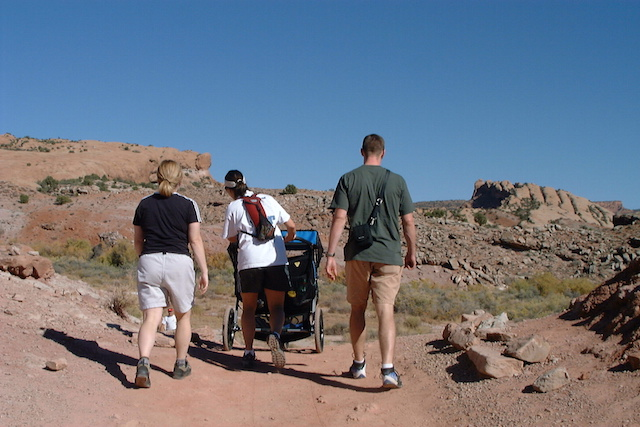 October 9, 2002, Moab, UT Delicate Arch Hike with our Double Jogging Stroller