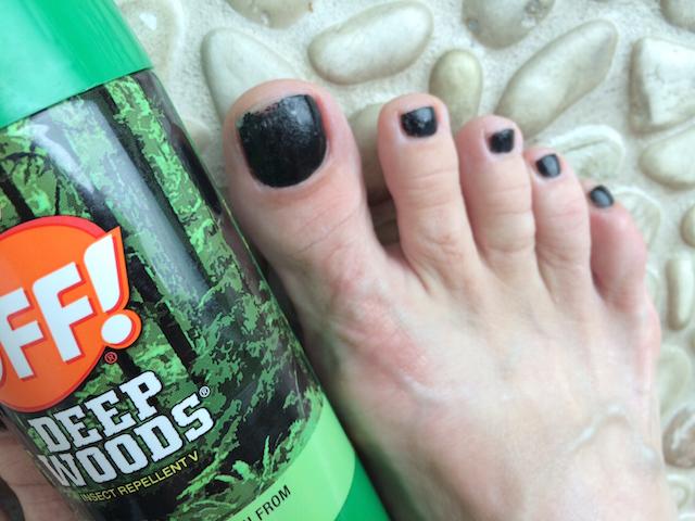 Deet melts nailpolish (and I told you my big toe was big)