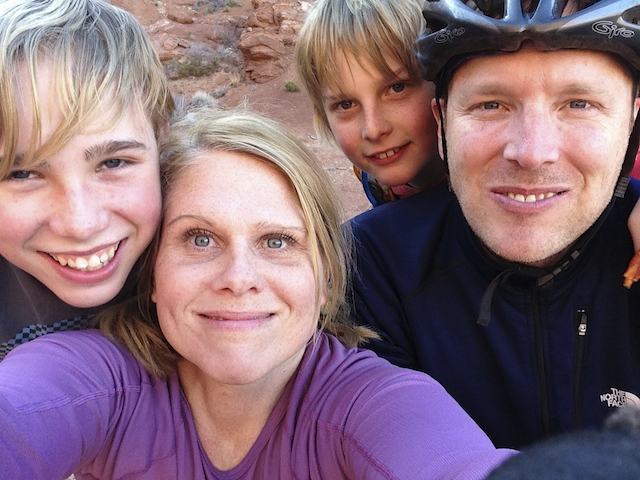 Us in Moab, Utah and yes, we were all riding bikes!