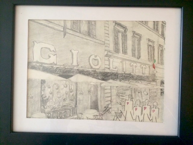 Kyle drew and then framed this most awesome picture for me. Giolitti, Rome, Italy