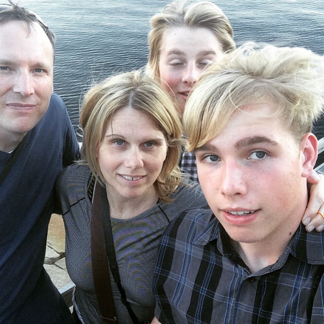 Favorite Family Photo: Strömstad, Sweden. Kyle with crazy hair, Eli thinking, me green and sick. Dave = beautiful