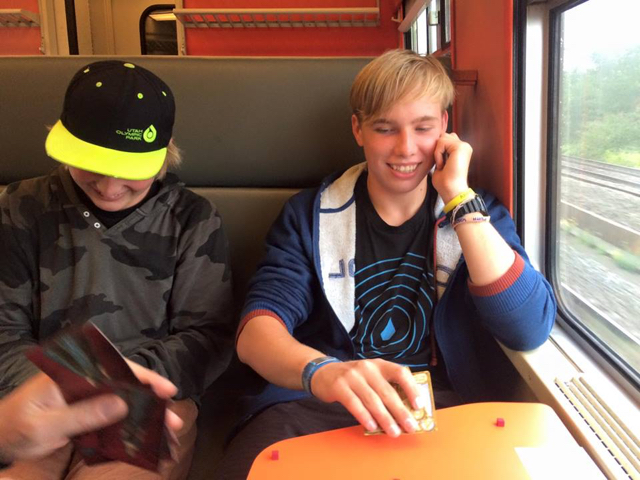 Traveling Antwerp to Bruges, Belgium, (when we still had our game, Love Letter)