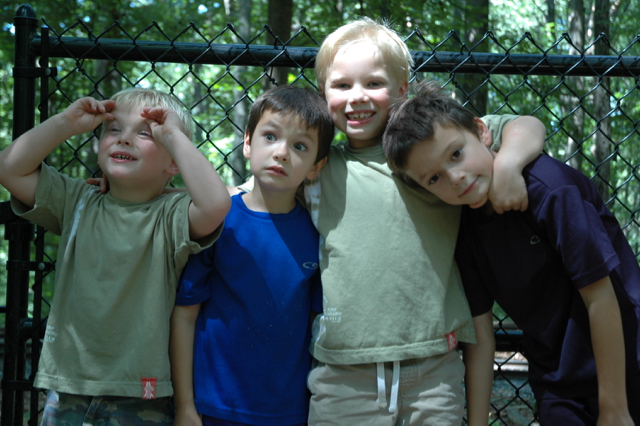 Eli, Max, Kyle and Quinn. Cabin John Park, Maryland, 2006. These kids are lifers!