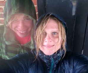 Kyle and I, Beachy Head, England in the rain