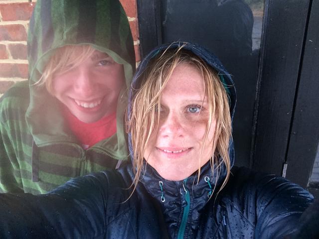 Kyle and I, Beachy Head, England in the rain
