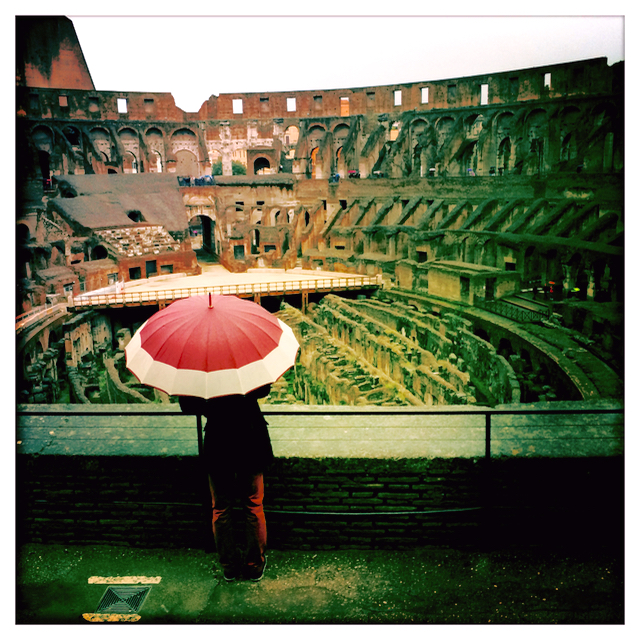 The Coliseum Rome in the rain