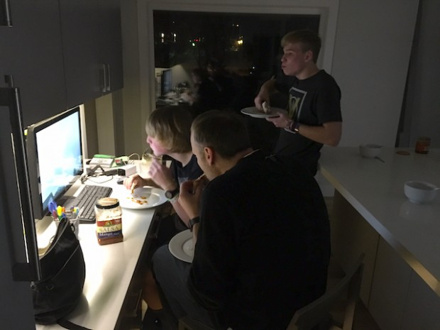 Dave, Kyle and Eli eating dinner and watching YouTube