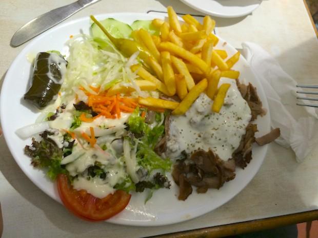 Eating Greek food in Brussels, Belgium