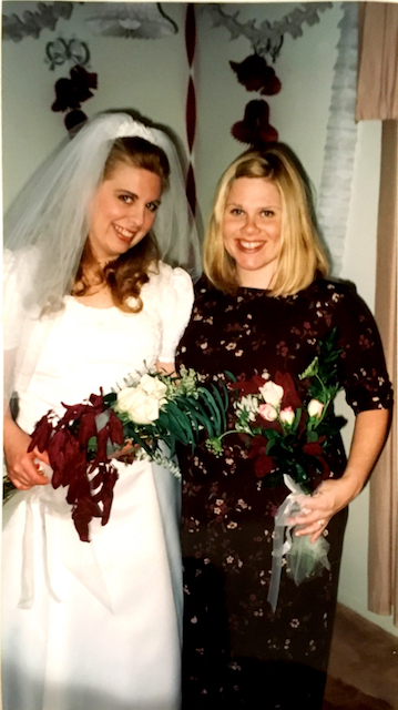 My awesome sister, Brenda, and I at her wedding, October, 1999, Minneapolis, MN.