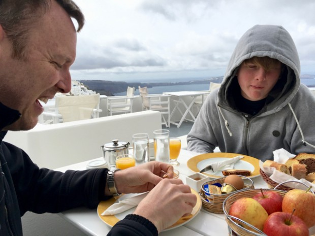 Breakfast, our first morning in Santorini, Greece