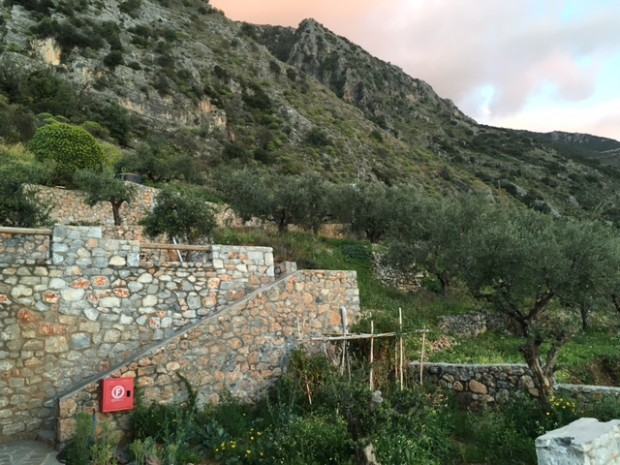 The side of the tiny apartment hotel we were staying at in Kalamata, Greece: Petra Thea