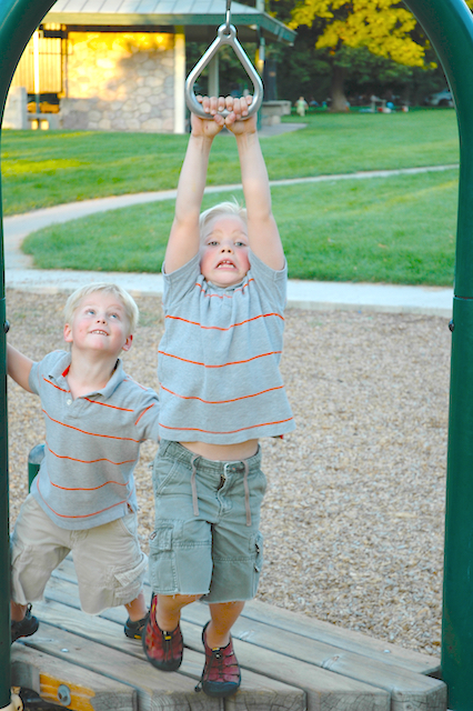 Kyle and Eli, Sugarhouse Park, August, 2006