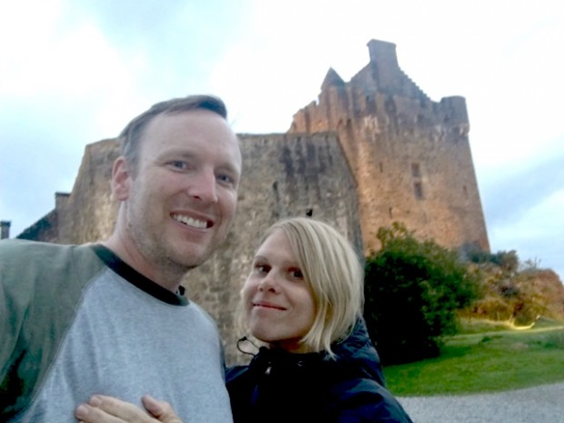 Dave and I at Eilean Donan Castle, Dornie, Kyle of Lochalsh, Scotland