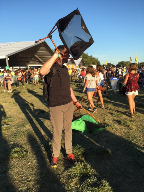 Dave carrying our REI Flex Lite Chairs through the crowd, ACL Music Festival, Austin, Texas