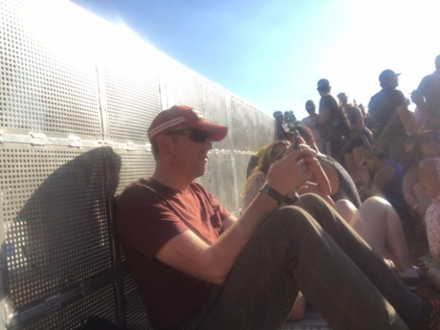 Where Dave and I sat firmly planted in the hot sun (for hours). We prevailed and our Mumford-and-Sons view was excellent.