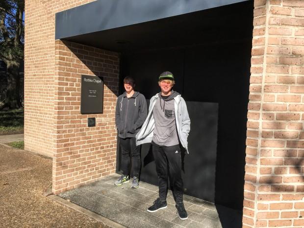 The boys outside of the Rothko Chapel, Houston, Texas