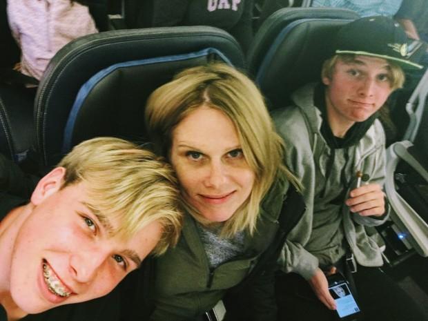 The boys and I flying from Houston, Texas to Salt Lake City, Utah
