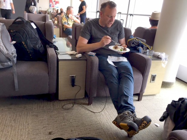 Dave in Toronto Airport's Plaza Premium Lounge -- the only picture I took, April 2017