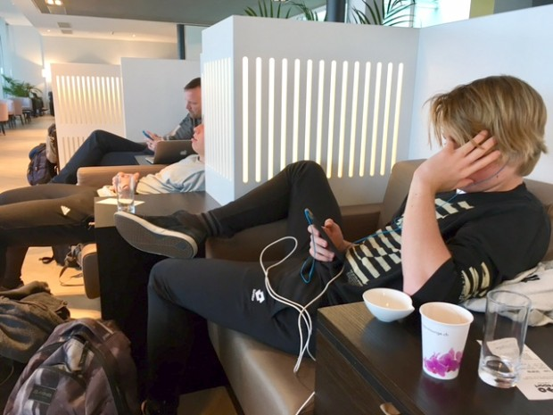 Dave & the boys at the Zurich Airport Aspire Lounge, April 2017.
