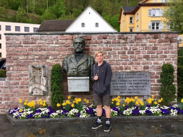 Kyle at the Liechtenstein Main Square, our last day, April, 2017