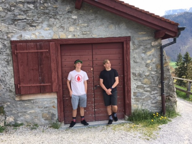 The boys, Gruyères Castle, Gruyères, Switzerland, April, 2017