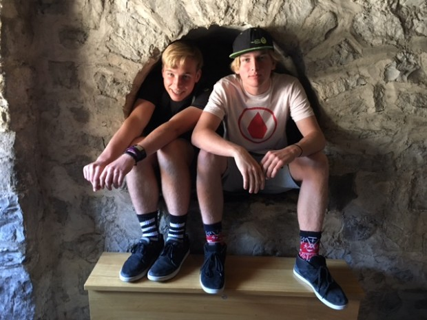 The boys, Chillon Castle, Montreux, Switzerland, April 2017