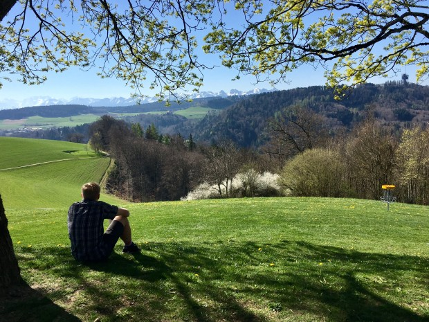 Kyle, Bern-Gurten Park, Bern, Switzerland with the Alps in the background