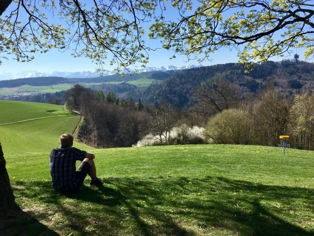 Kyle, Bern-Gurten Park, Bern, Switzerland with the Alps in the background