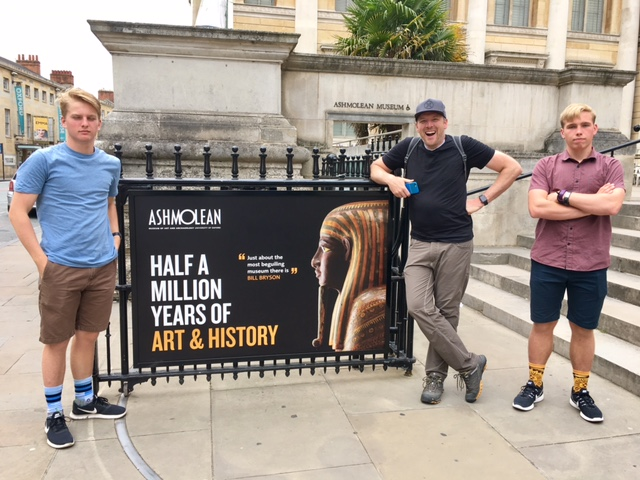 "Dave and the boys in front of Oxford, England's ""CLOSED MONDAYs"" Ashmolean Museum"