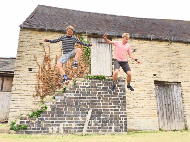 The boys, The Day Before it all happened: Dave & I at theNational Trust - Middle Littleton Tithe Barn, England (What a difference a day makes)