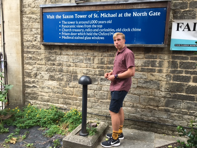 Kyle outside the Tower of St. Michael at the Northgate, Oxford, England -- and he is thrilled ;)