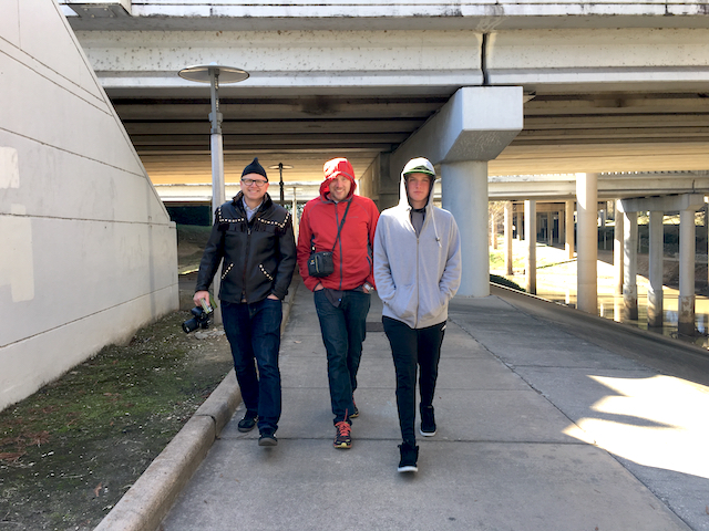 Doug, Dave & Easy E, Buffalo Bayou Walk, Houston, Texas, January, 2017