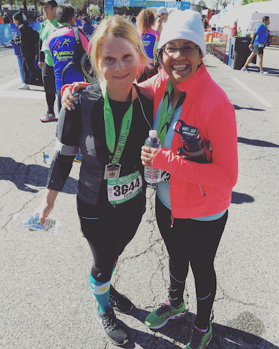 My friend, Rita & I after we finished the SLC Half Marathon. (It was epic.)